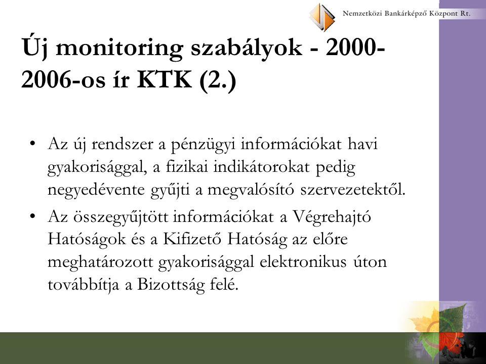 Új monitoring szabályok - 2000-2006-os ír KTK (2.)