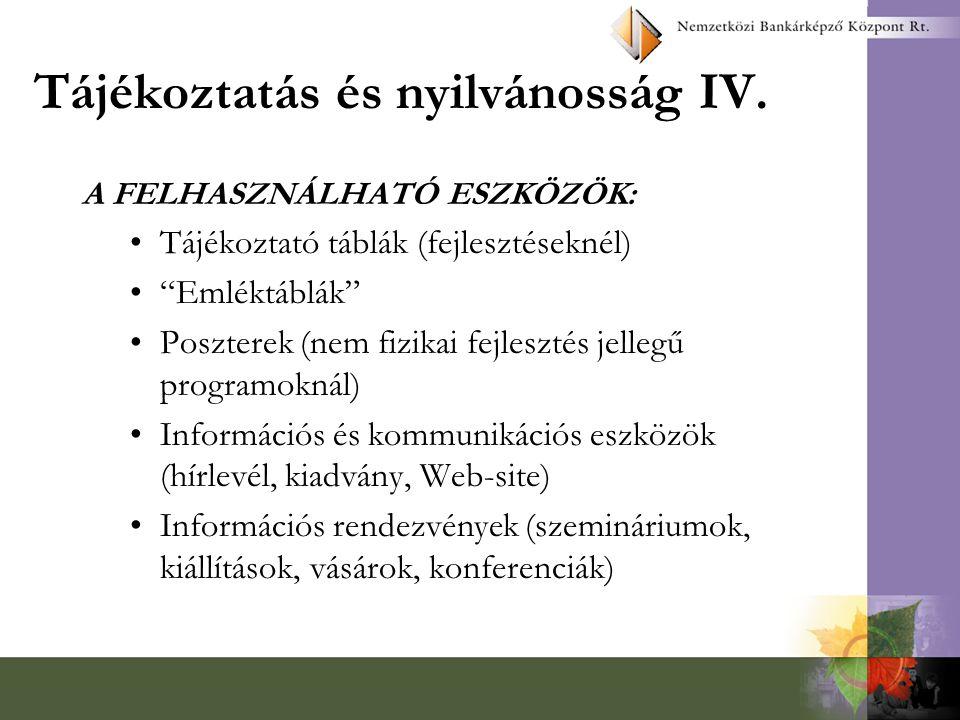 Tájékoztatás és nyilvánosság IV.