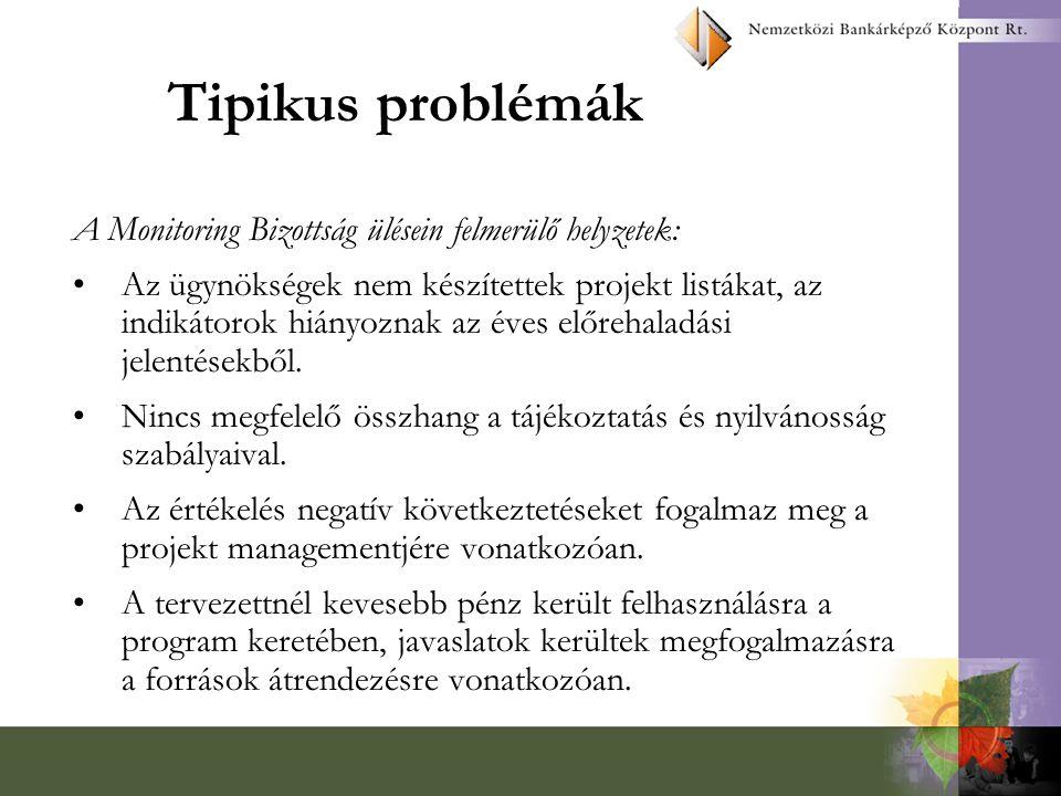 Tipikus problémák A Monitoring Bizottság ülésein felmerülő helyzetek: