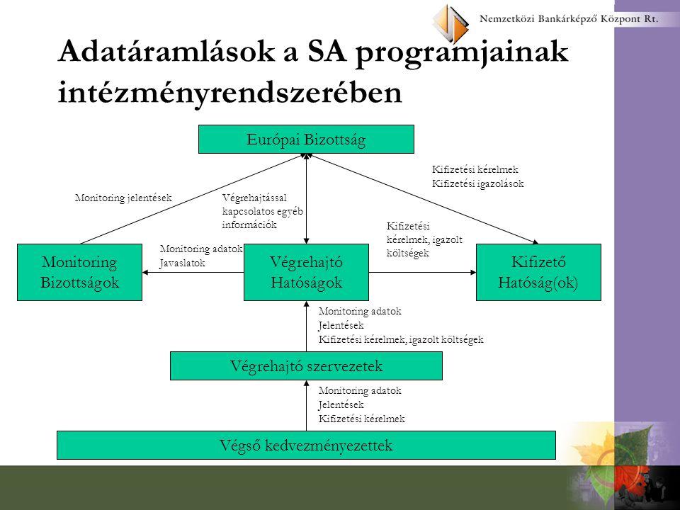 Adatáramlások a SA programjainak intézményrendszerében
