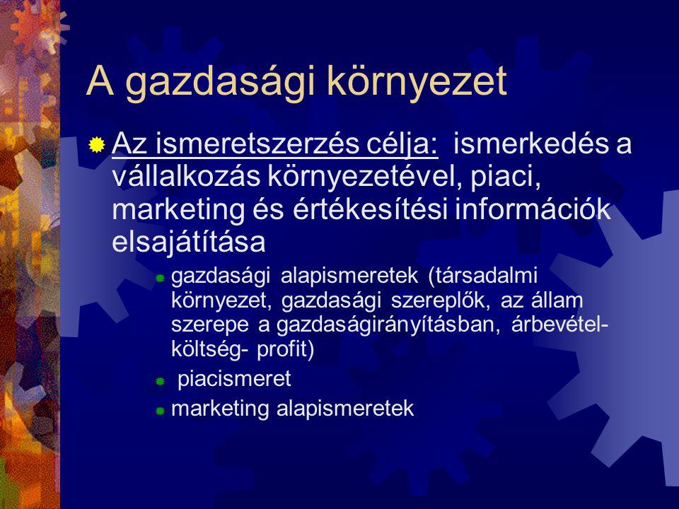 A gazdasági környezet Az ismeretszerzés célja: ismerkedés a vállalkozás környezetével, piaci, marketing és értékesítési információk elsajátítása.