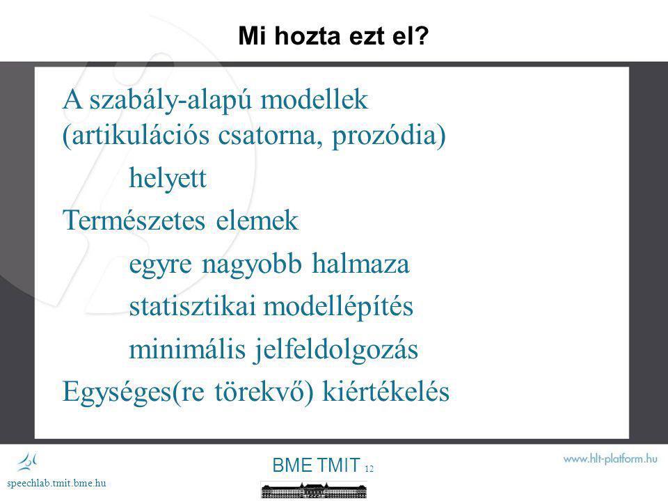 A szabály-alapú modellek (artikulációs csatorna, prozódia) helyett