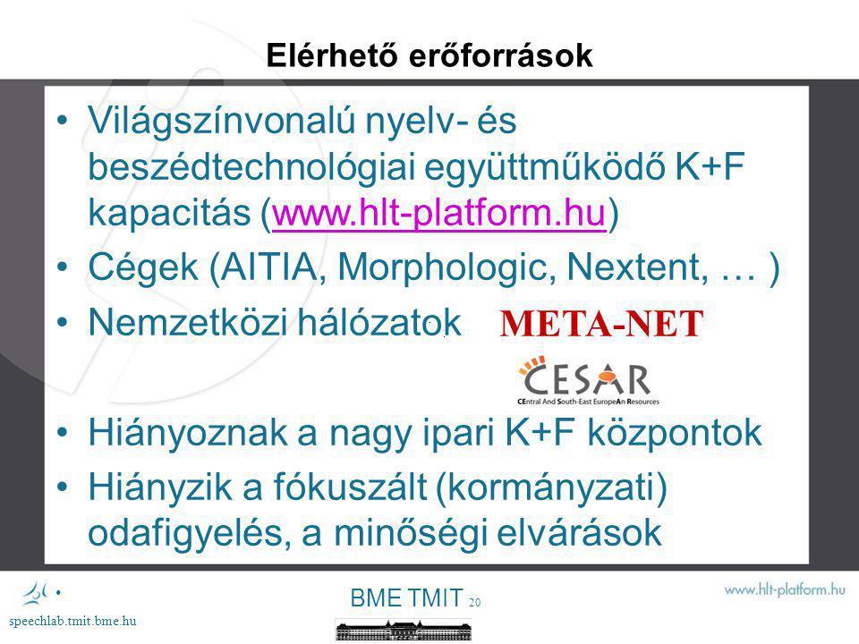 Cégek (AITIA, Morphologic, Nextent, … ) Nemzetközi hálózatok