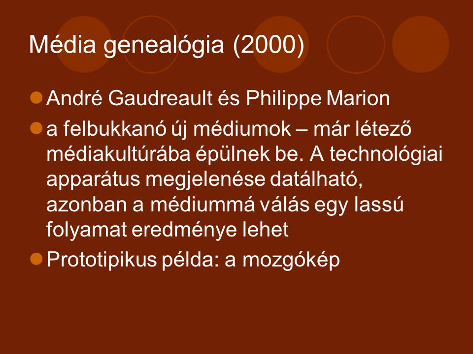 Média genealógia (2000) André Gaudreault és Philippe Marion