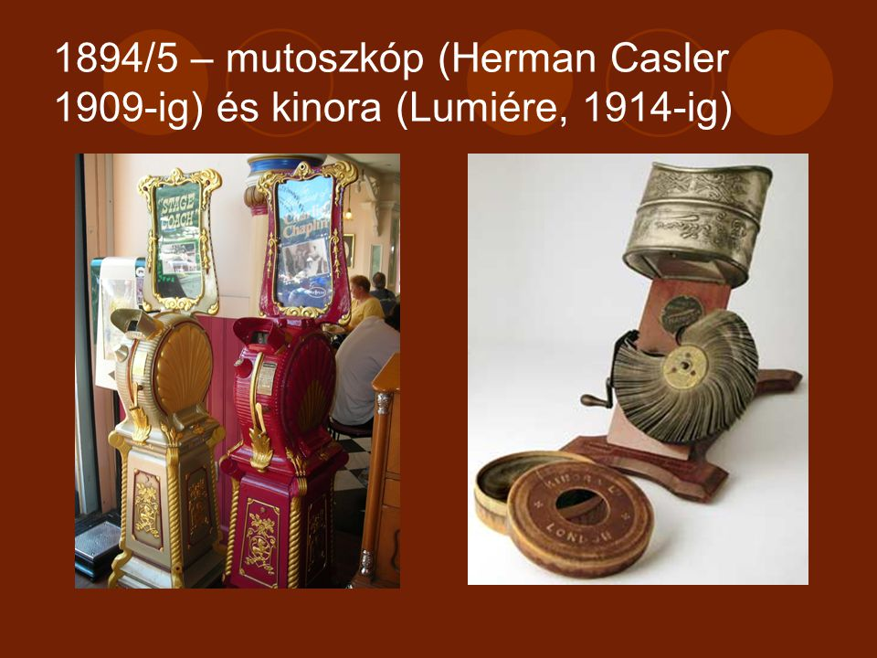 1894/5 – mutoszkóp (Herman Casler 1909-ig) és kinora (Lumiére, 1914-ig)