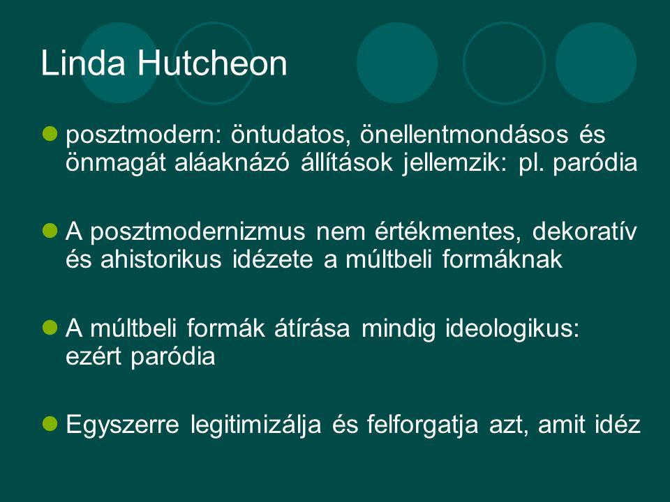 Linda Hutcheon posztmodern: öntudatos, önellentmondásos és önmagát aláaknázó állítások jellemzik: pl. paródia.