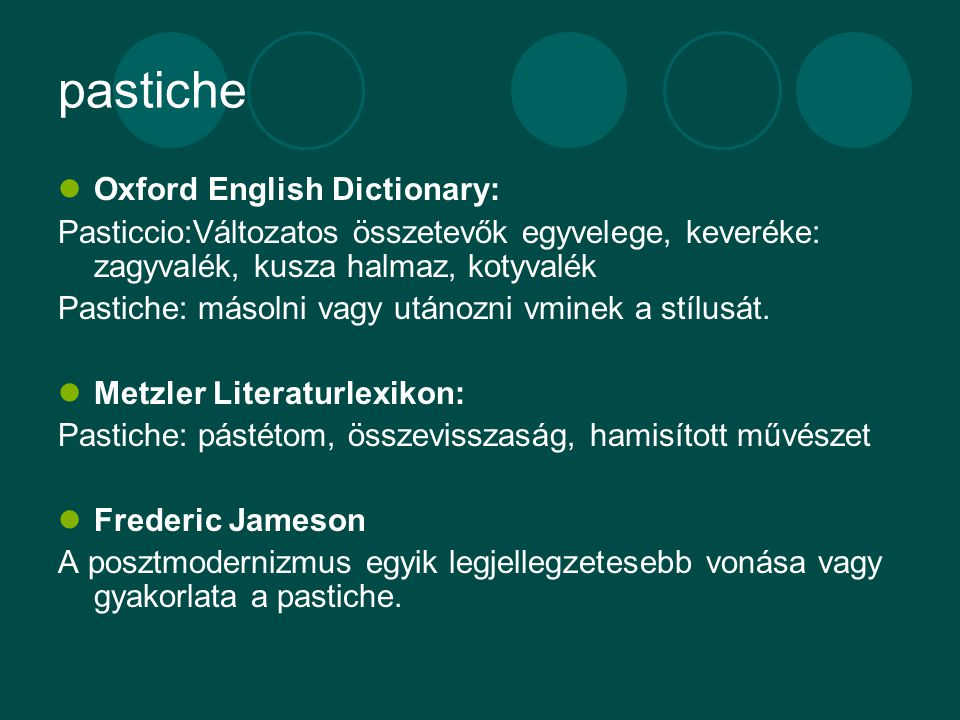 pastiche Oxford English Dictionary: