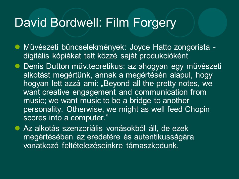 David Bordwell: Film Forgery