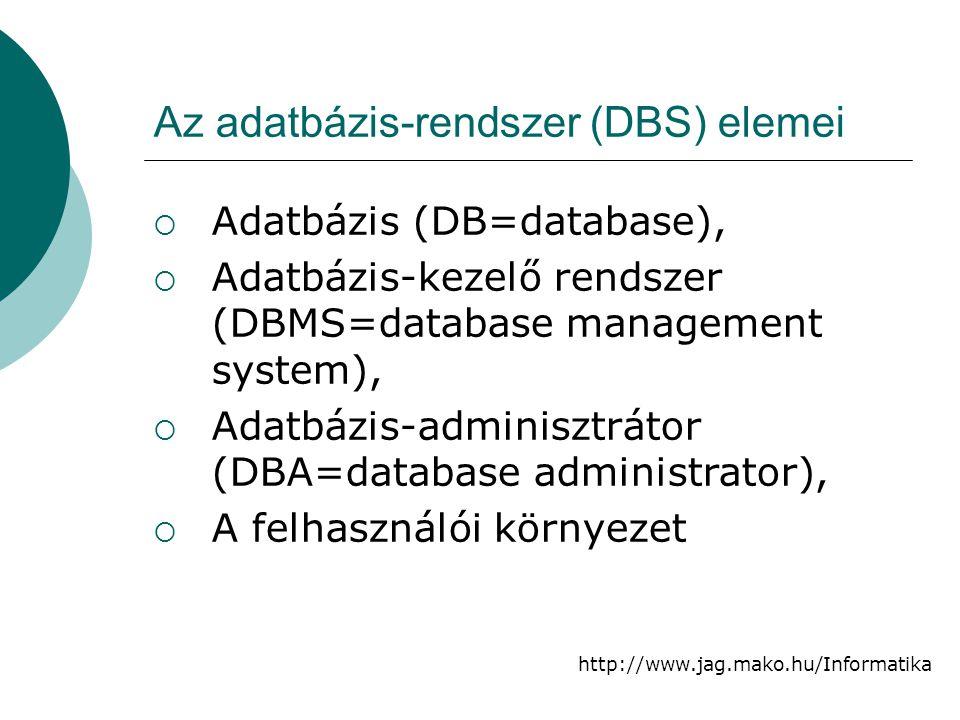 Az adatbázis-rendszer (DBS) elemei
