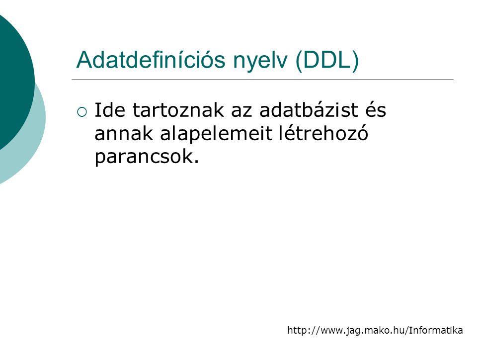 Adatdefiníciós nyelv (DDL)