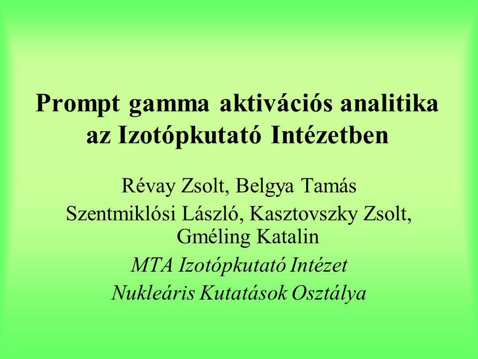 Prompt gamma aktivációs analitika az Izotópkutató Intézetben