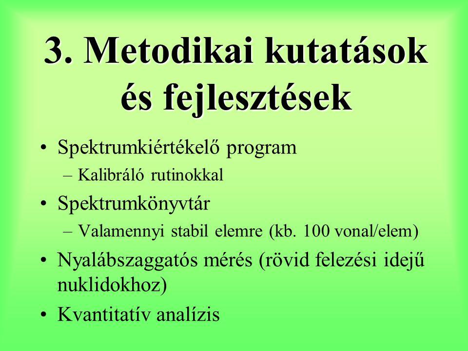 3. Metodikai kutatások és fejlesztések