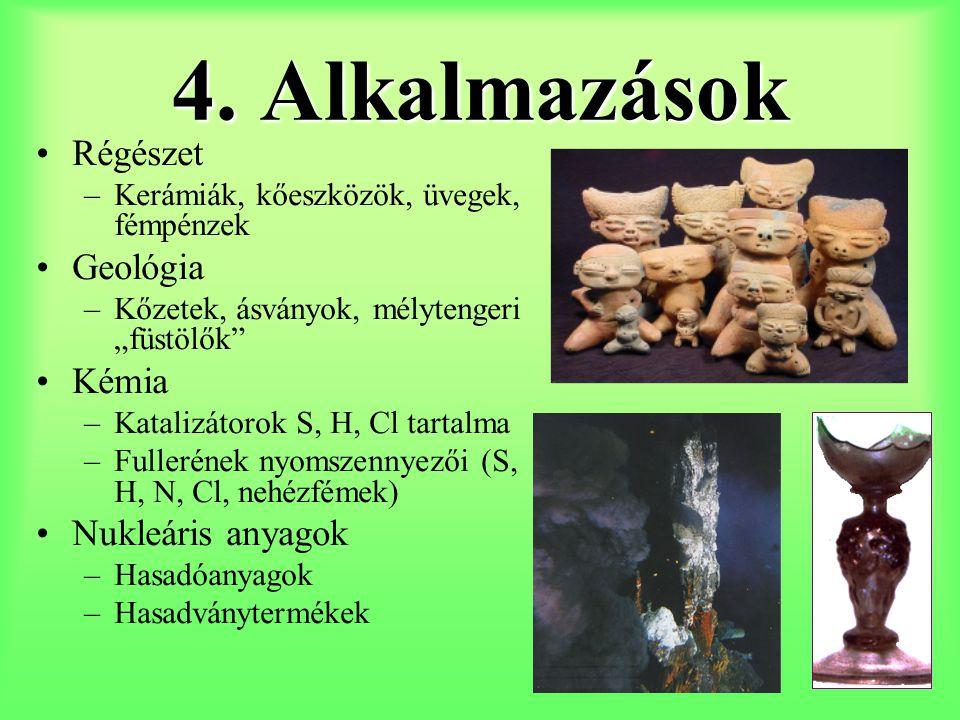 4. Alkalmazások Régészet Geológia Kémia Nukleáris anyagok