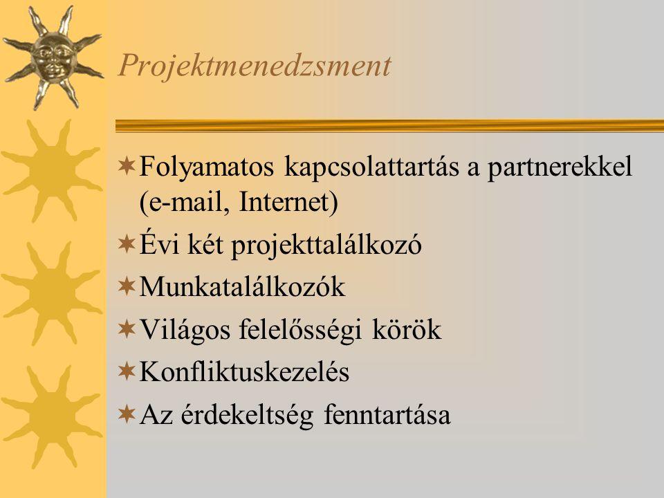 Projektmenedzsment Folyamatos kapcsolattartás a partnerekkel (e-mail, Internet) Évi két projekttalálkozó.