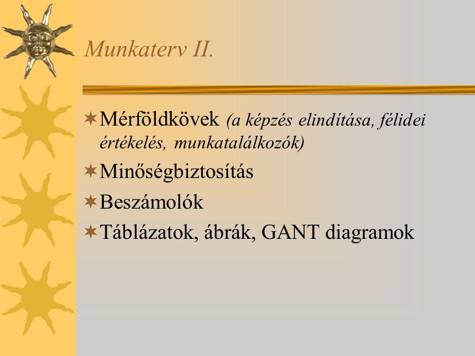 Munkaterv II. Mérföldkövek (a képzés elindítása, félidei értékelés, munkatalálkozók) Minőségbiztosítás.