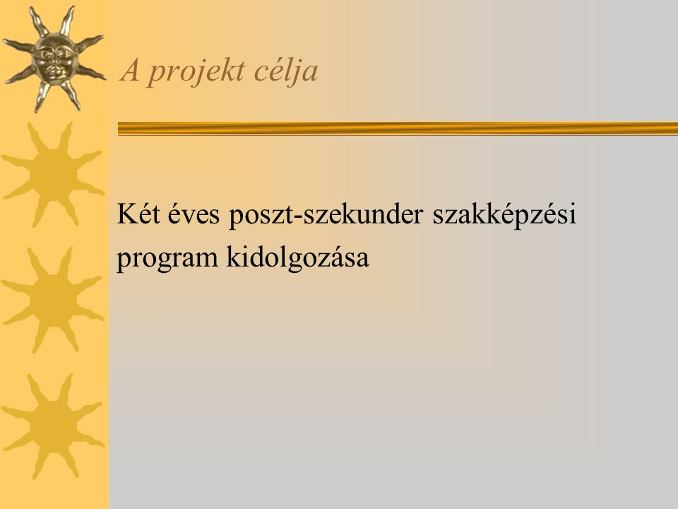 A projekt célja Két éves poszt-szekunder szakképzési