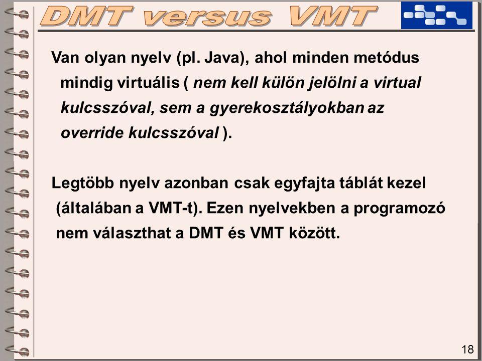 DMT versus VMT Van olyan nyelv (pl. Java), ahol minden metódus