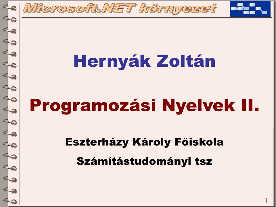 Hernyák Zoltán Programozási Nyelvek II.