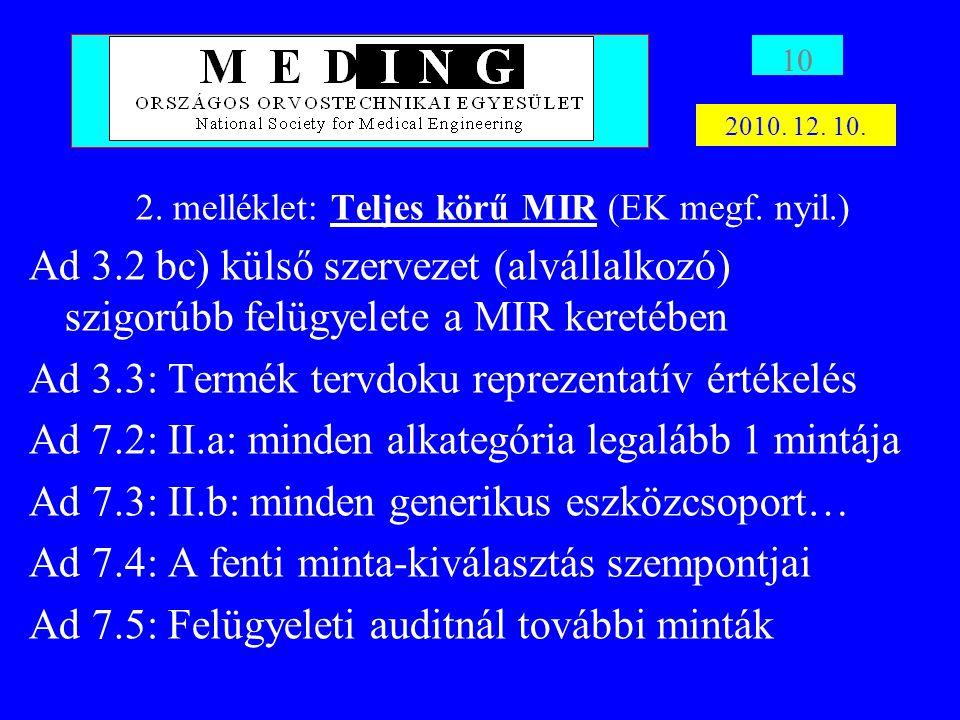 2. melléklet: Teljes körű MIR (EK megf. nyil.)