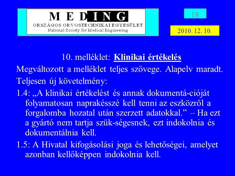 10. melléklet: Klinikai értékelés