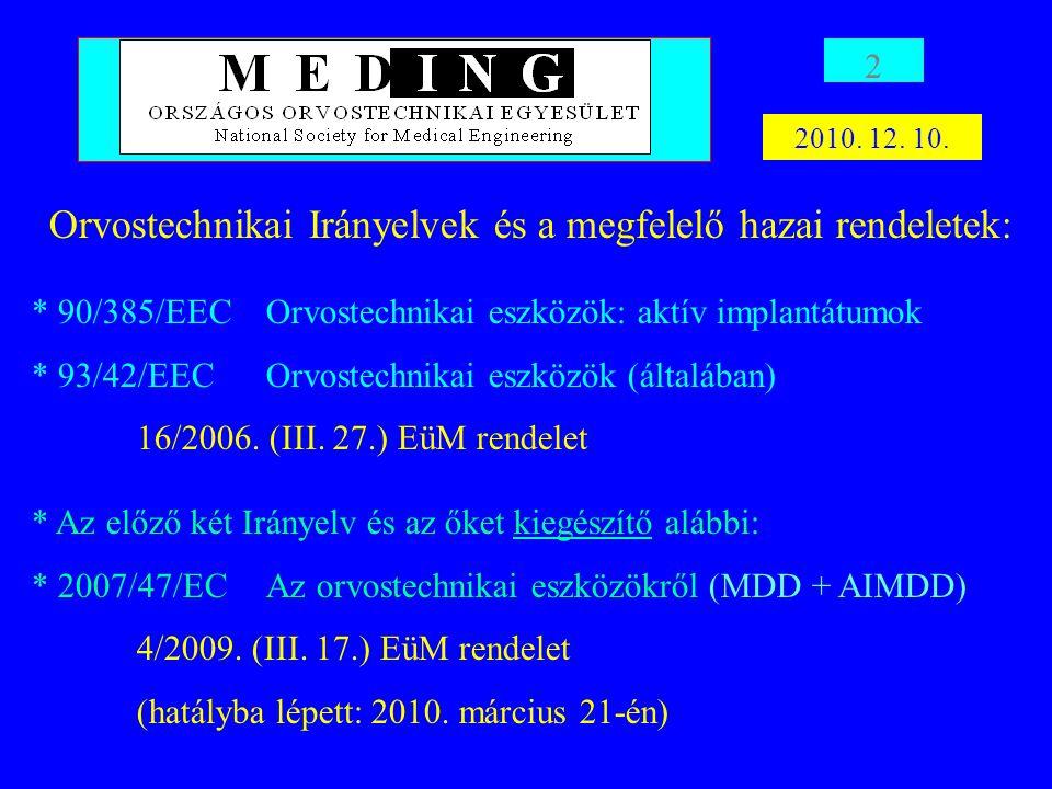 Orvostechnikai Irányelvek és a megfelelő hazai rendeletek: