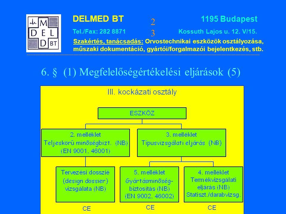6. § (1) Megfelelőségértékelési eljárások (5)