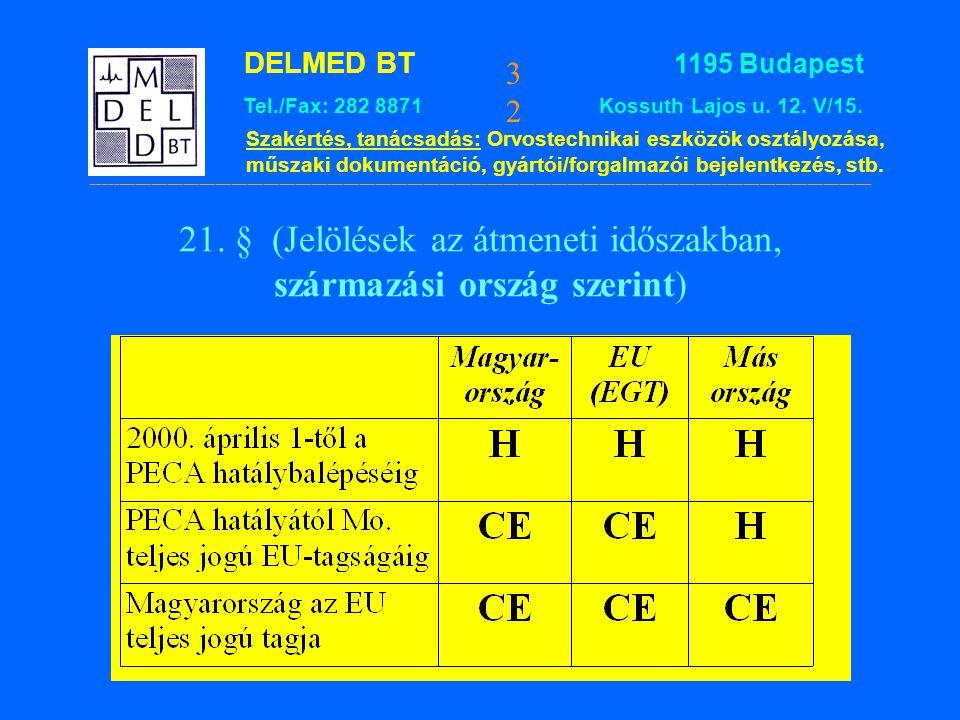 21. § (Jelölések az átmeneti időszakban, származási ország szerint)
