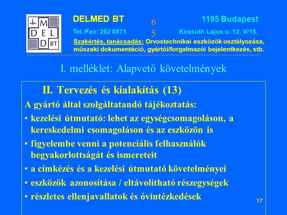 I. melléklet: Alapvető követelmények