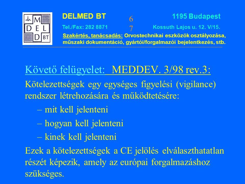 Követő felügyelet: MEDDEV. 3/98 rev.3: