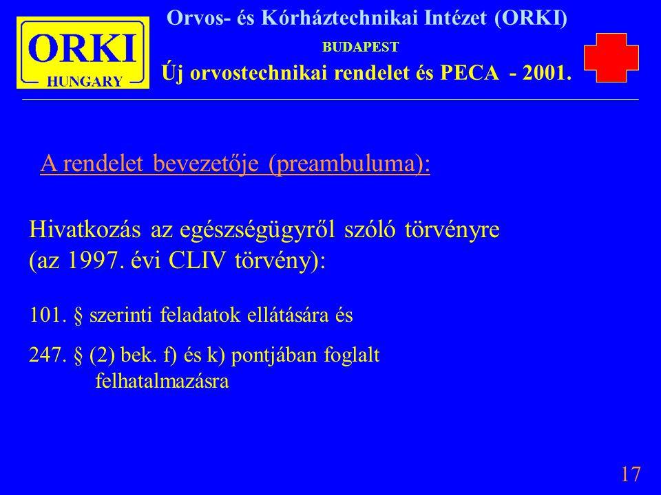 A rendelet bevezetője (preambuluma):