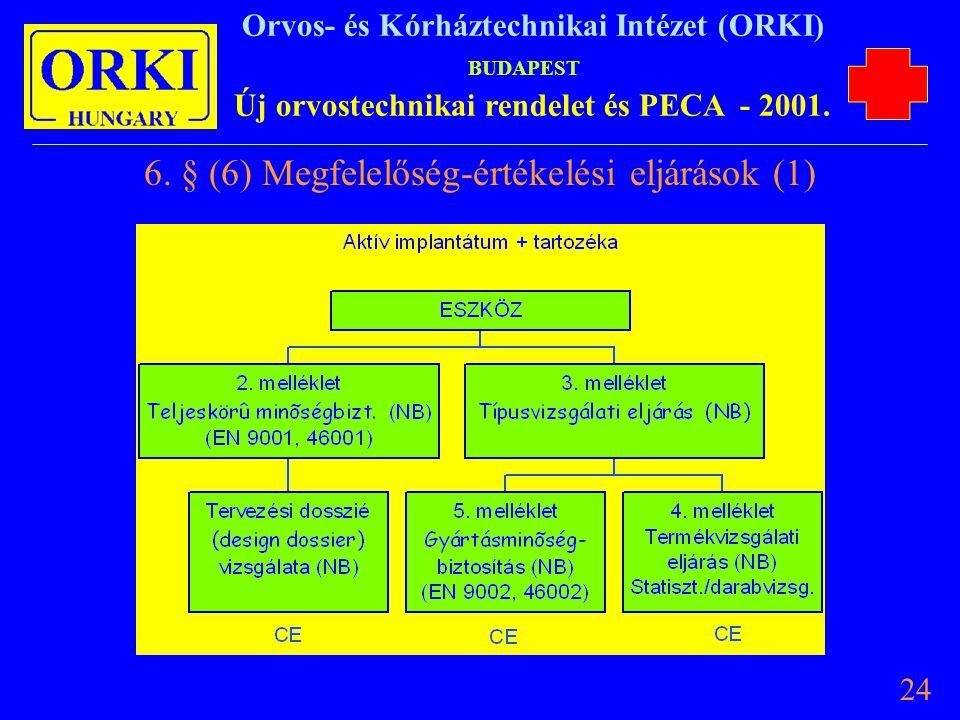 6. § (6) Megfelelőség-értékelési eljárások (1)