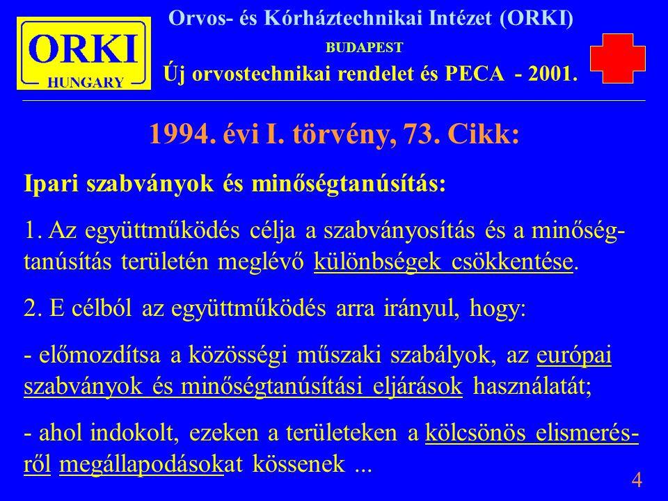 1994. évi I. törvény, 73. Cikk: Ipari szabványok és minőségtanúsítás:
