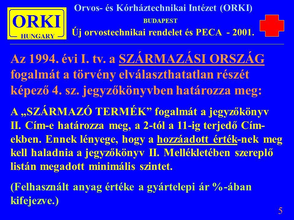 Az 1994. évi I. tv. a SZÁRMAZÁSI ORSZÁG fogalmát a törvény elválaszthatatlan részét képező 4. sz. jegyzőkönyvben határozza meg: