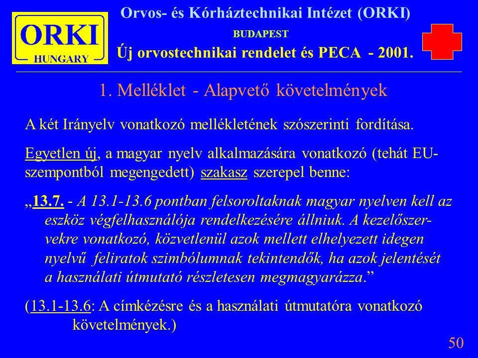 1. Melléklet - Alapvető követelmények