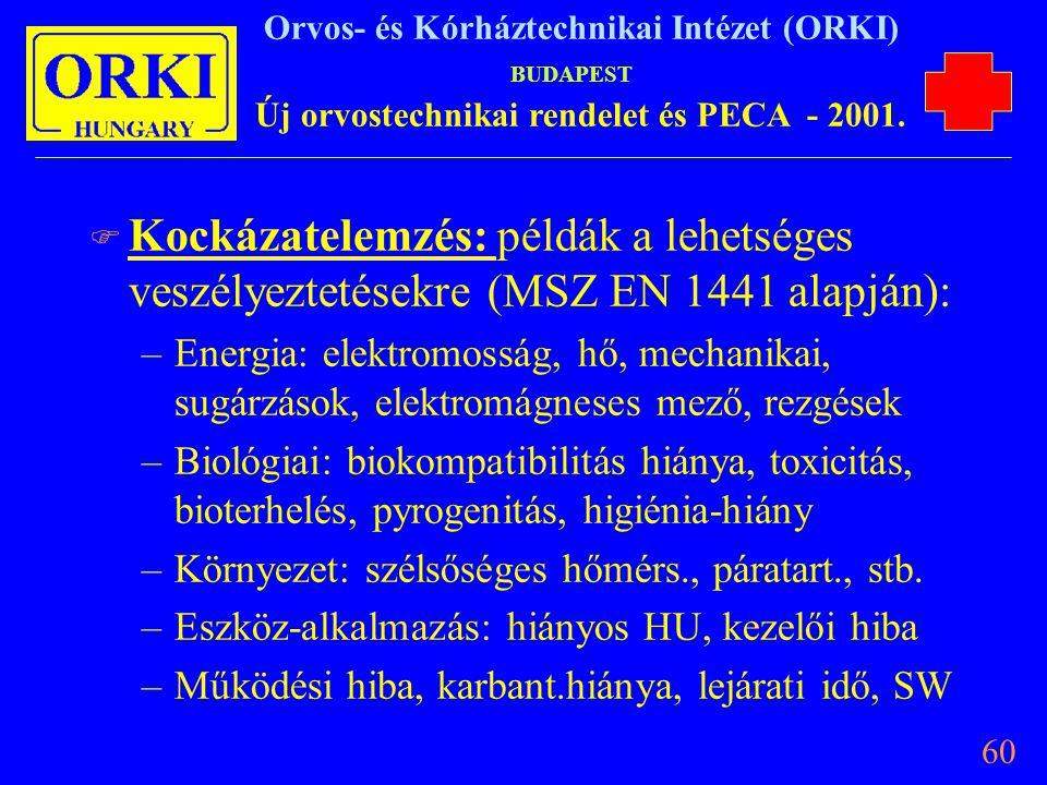 Kockázatelemzés: példák a lehetséges veszélyeztetésekre (MSZ EN 1441 alapján):