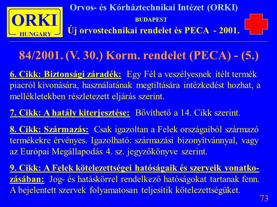84/2001. (V. 30.) Korm. rendelet (PECA) - (5.)