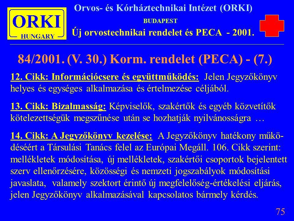 84/2001. (V. 30.) Korm. rendelet (PECA) - (7.)
