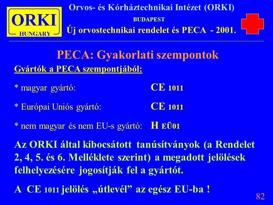 PECA: Gyakorlati szempontok