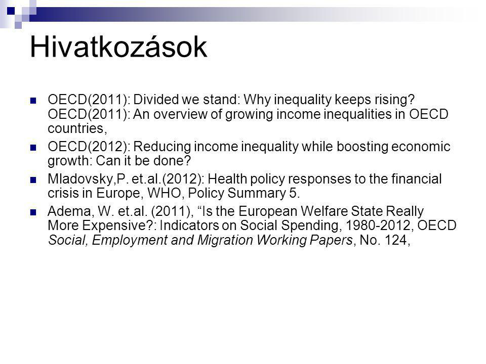 Hivatkozások OECD(2011): Divided we stand: Why inequality keeps rising OECD(2011): An overview of growing income inequalities in OECD countries,