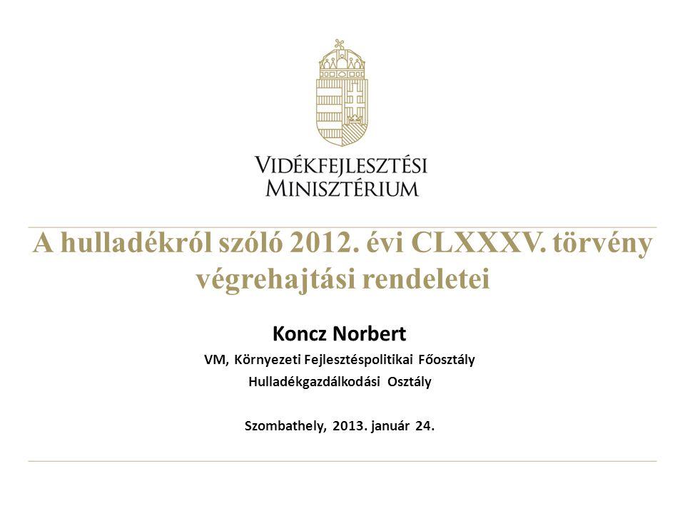 A hulladékról szóló 2012. évi CLXXXV. törvény végrehajtási rendeletei