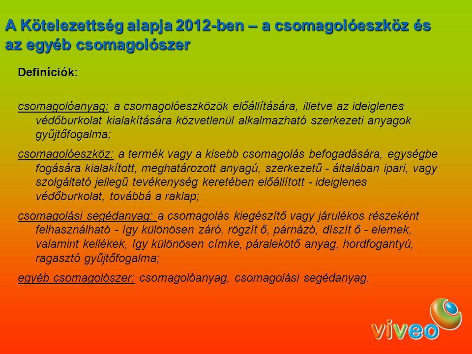 A Kötelezettség alapja 2012-ben – a csomagolóeszköz és az egyéb csomagolószer
