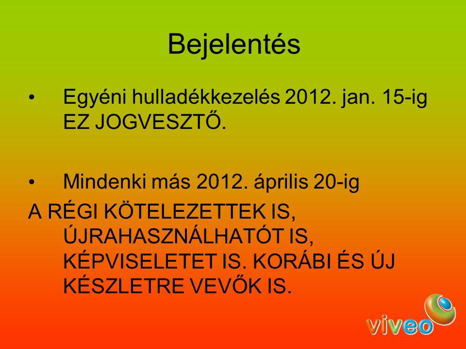 Bejelentés Egyéni hulladékkezelés 2012. jan. 15-ig EZ JOGVESZTŐ.