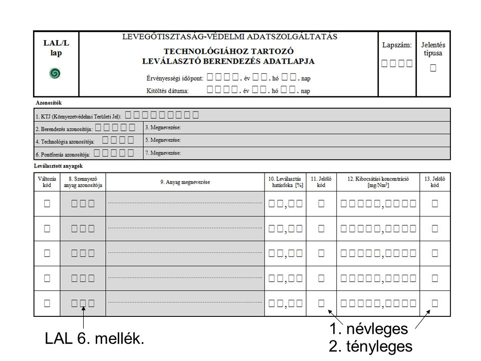 Mért O2 M S B 1. névleges 2. tényleges LAL 6. mellék.