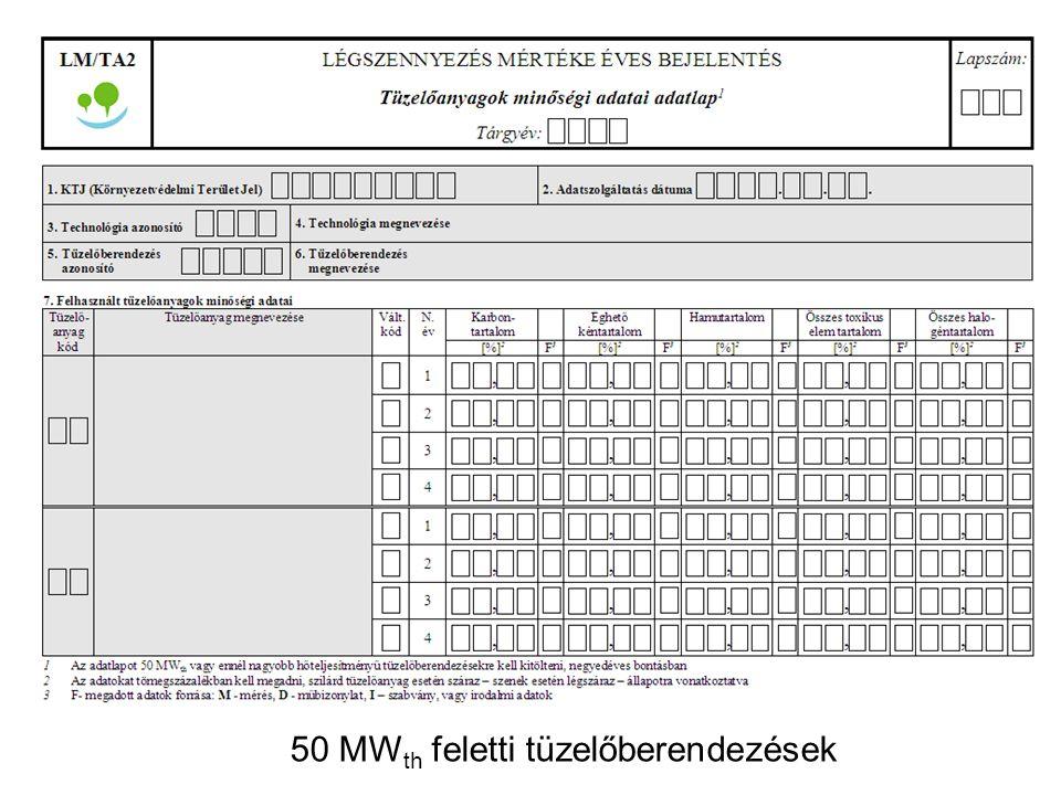 50 MWth feletti tüzelőberendezések