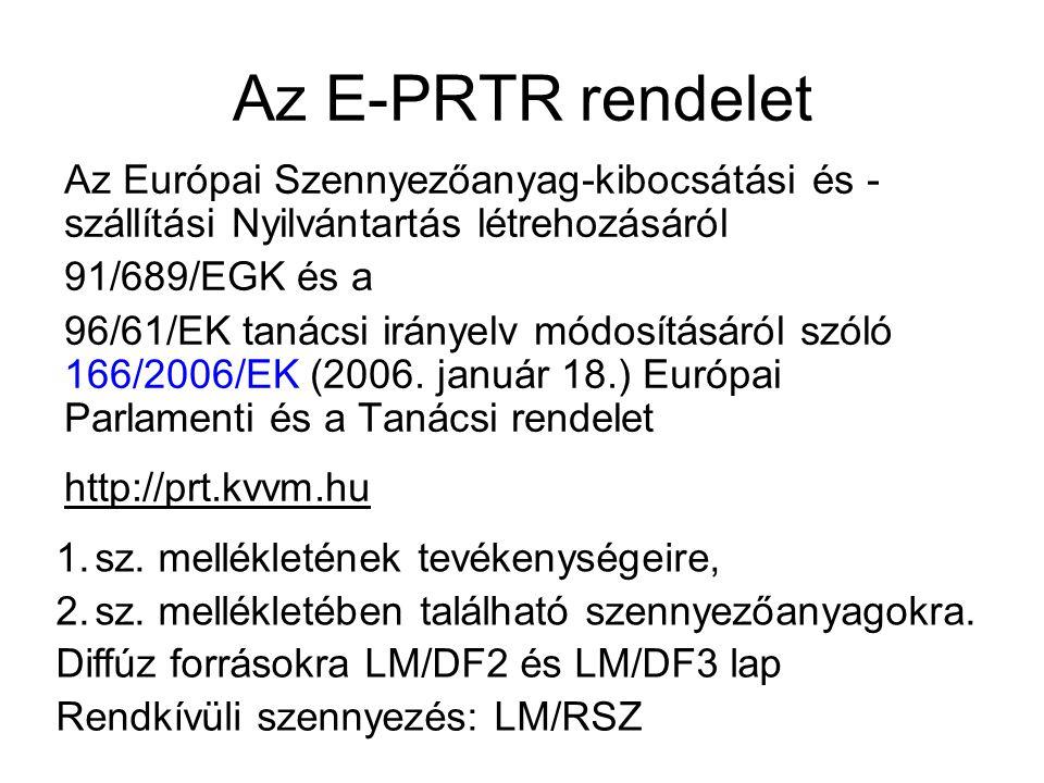 Az E-PRTR rendelet Az Európai Szennyezőanyag-kibocsátási és -szállítási Nyilvántartás létrehozásáról.