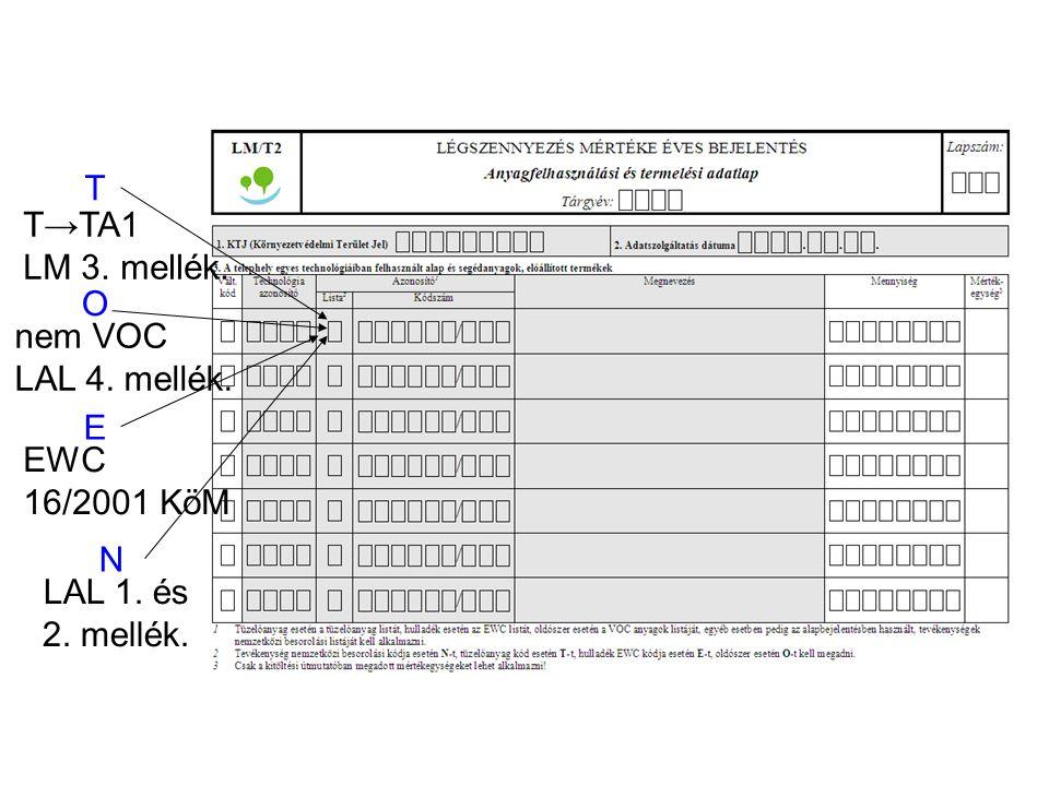 T T→TA1 LM 3. mellék. O nem VOC LAL 4. mellék. E EWC 16/2001 KöM N LAL 1. és 2. mellék.