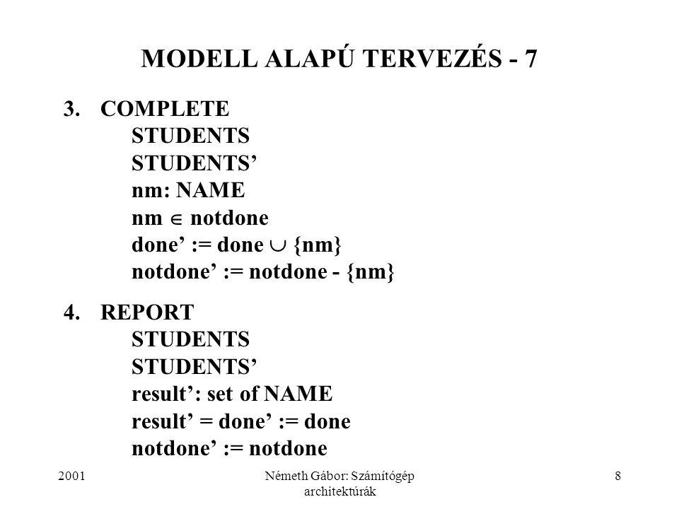 MODELL ALAPÚ TERVEZÉS - 7
