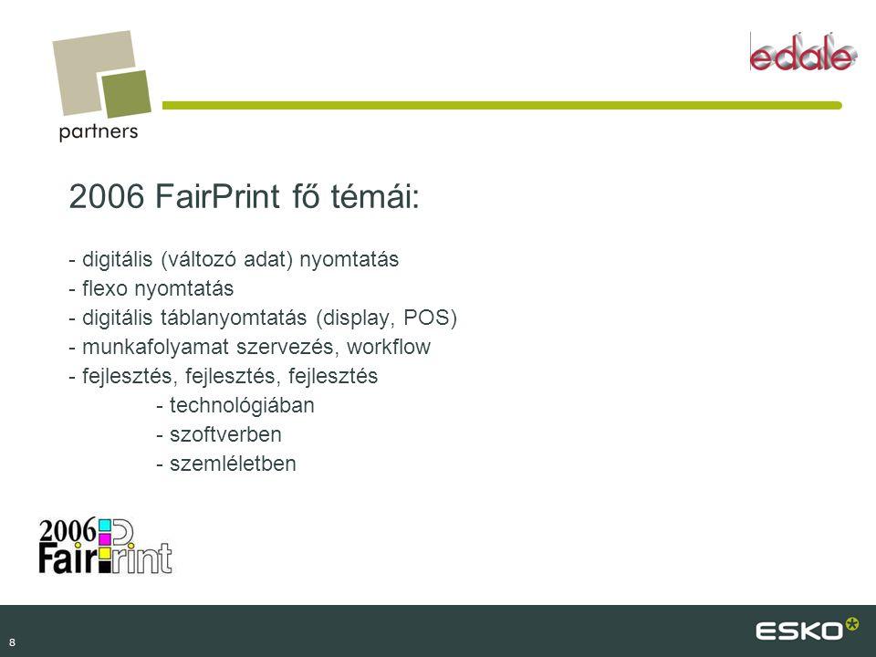 2006 FairPrint fő témái: - digitális (változó adat) nyomtatás - flexo nyomtatás - digitális táblanyomtatás (display, POS) - munkafolyamat szervezés, workflow - fejlesztés, fejlesztés, fejlesztés - technológiában - szoftverben - szemléletben
