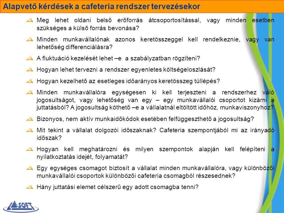 Alapvető kérdések a cafeteria rendszer tervezésekor