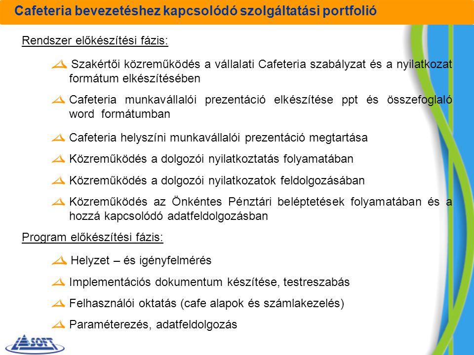 Cafeteria bevezetéshez kapcsolódó szolgáltatási portfolió